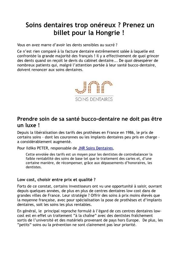 article avec jnr soins dentaires en hongrie centre low cost. Black Bedroom Furniture Sets. Home Design Ideas
